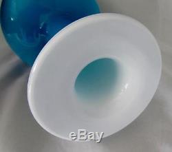 Holmegaard Denmark Otto Brauer Gulvase Vase Blue & Opal 30cm Cased Carnaby Era