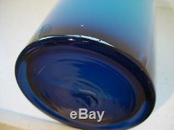 Holmegaard blue 15.5 danish modern vintage art glass Gulvase
