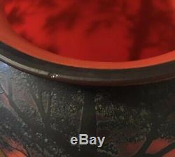 Huge 19.75 Antique Art Glass Loetz French Cameo Vase Signed Richard Red & Blue