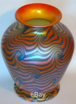Huge Art Nouveau Iridescent King Tut Art Glass Vase in Blue & Gold