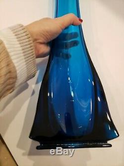 Huge Viking Mid Century Modern Blue Art Glass 30 Floor Vase Large. STUNNING
