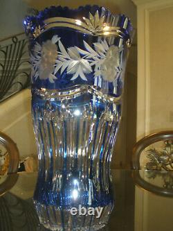 Huge Vintage 16 Tall Bohemian Cut To Clear Crystal Blue Vase, Centerpiece, Mint
