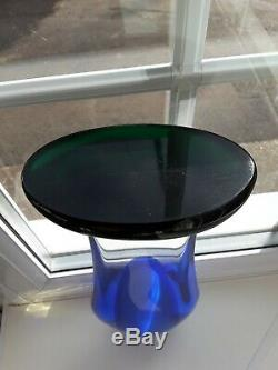 Huge Vintage Murano Sommerso blue & green footed art glass vase C1960's