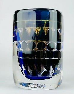 INGEBORG LUDIN for ORREFORS -ARIEL- c1973 BLUE/CLEAR GLASS VASE No. 179, SIGNED