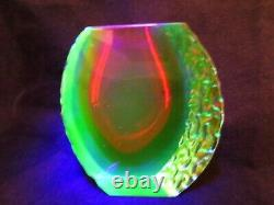 Ice glass vase Mandruzzato textured & faceted Murano red amber blue UV sommerso