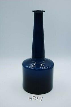 Iittala Timo Sarpaneva. Bottlevase In Petrol Blue. Signed