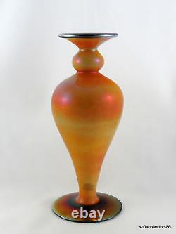 Imperial Free Hand FH 230 Mirror Orange & Cobalt Blue Art Glass Vase ca. 1924
