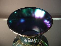 Imperial Freehand Blue/Green Lead Lustre Vase withAurene Interior Art Deco Era 655