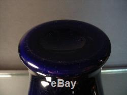 Imperial Freehand Cobalt Lead Lustre Vase withOrange Interior Art Deco Era #655