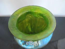 Iridescent Blue Green 19th Century LOETZ Creta Neptun Flared Lip ART GLASS Vase