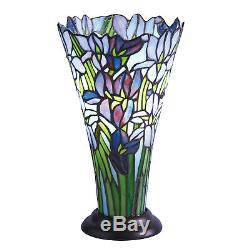 Irises Accent Lamp Decorative Stained Glass Vase Shaped Floral Table Light