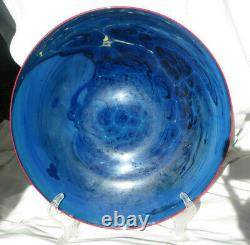 JOSH SIMPSON Blue New Mexico ART GLASS Charger / Plate signed & dated 14 2001