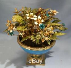 Jane Hutcheson Jewel Enamel Flowers Blue Opaline Glass Gilt Ormolu Mounted Vase