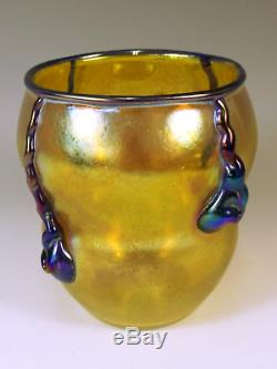 Johann Loetz Yellow And Blue Glass Silberiris Vase