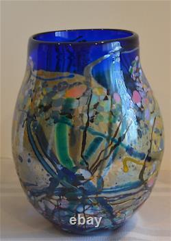 John Gerletti Signed Art Glass Freeform Hand Blown Large Abstract Vase