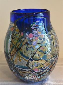 John Gerletti Signed Art Glass Freeform Nand Blown Large Abstract Vase