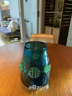 Joseph (Josef) Hospodka Glass Vase 1960s Hand Blown Blue With Amber Prunts