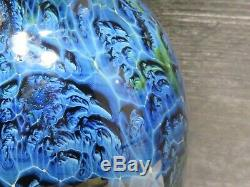 Josh Simpson American Art Glass Vase 2001 9.75 New Mexico Blue Signed Dated