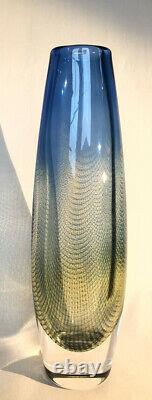 KRAKA SVEN PALMQVIST ORREFORS SWEDEN Signed Glass Vase 12 MINT