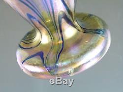 KRALIK Glass Art Nouveau Iridescent Blue over Gold King Tut Pattern Vase