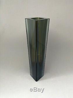 Kaj Franck glass vase Prisma Prism Nuutajärvi olive blue 210 mm