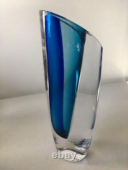 Kosta Boda Goran Warff Seaside Vase SIGNED NUMBERED Beautiful Blue/Clear withBox