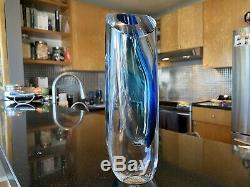 Kosta Boda Seaside Vase Cobalt Blue Turquoise & Clear by Goran Warff SIGNED 11