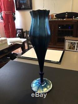 L C Tiffany favrile glass Vase 12.5 Floriform Iridescent BLUE! Tiffany & Co