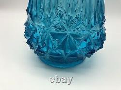 L E Smith Glass Blue Swung Bud Vase Diamond SMI11, 26.25 Inches Vintage Large