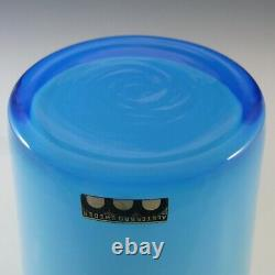 LABELLED Alsterbro Swedish Blue Cased Hooped Glass Vase
