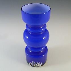 LABELLED Lindshammar Swedish Blue Cased Hooped Glass Vase