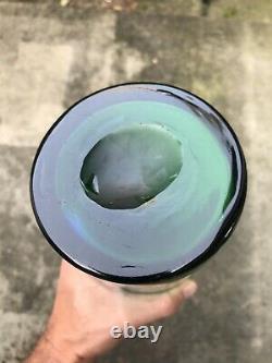 LARGE Art Glass Vase Mid Century Modern Possibly Blenko Blue & Green 29 Tall