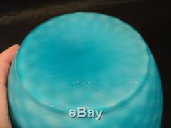 LARGE BLUE MOP DIAMOND QUILTED CUT VELVET SATIN GLASS VASE, c. 1880-1900
