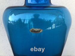 LARGE Vintage Mid Century Modern Blenko Blue Blown Glass Floor Vase RARE w Label