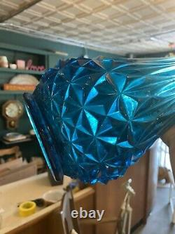LE Smith Glass Blue Swung Stretch Vase Over 26 MCM