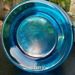 LE Smith Glass Swung Vase Blue Simplicity 18 Thousand Eye Pattern 1960s MCM