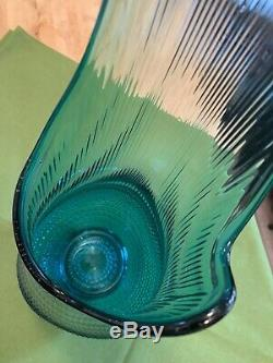 LE Smith Huge Architectural 34 Swung Stretch Blue Green Hobnail MidCentury Vase