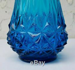 LE Smith Viking Glass Blue Swung Stretch Vase 23 1960s Mid Century Modern MCM