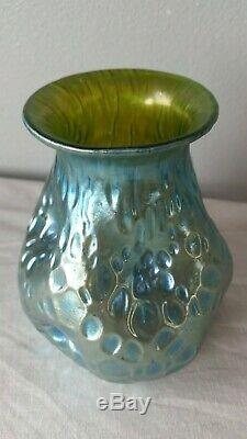 LOETZ CRETE DIASPORA Creta Silberiris ART GLASS VASE Blue Green Nouveau Pinched