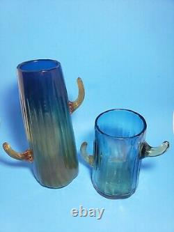 LOT 2 BLENKO CACTUS VASES Tall Yellow Blue Amber Blown GLASS 12x7 Art Folk RARE
