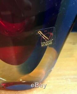 LUIGI ONESTO Italy Art Glass Vase 8.5 VETRO ARTISTCO MURANO sommerso 4 shades