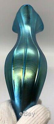 LUNDBERG BLUE LUSTER TRUMPET VASE 14 1/2 Inches Huge Opalescent Glass 1983