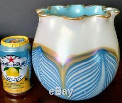 LUNDBERG Pulled Feather Turquoise, Blue & Gold Large Vase signed S/J