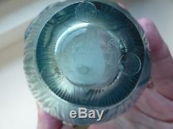 Lalique Crystal Ceour de Fleur Ocean Blue Butterfly Vase