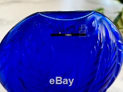 Lalique Filicaria Pillow Vase in Klein Blue French Crystal Mint Condition + Box