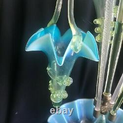 Large Antique 19th Century Stourbridge Victorian Glass Epergne Vase Blue 5 Horn