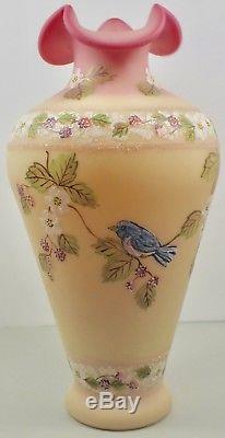 Large Artist Signed Fenton Glass Satin Burmese Vase W Blue Bird On Vining Fruit