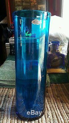 Large BLENKO Cobalt Blue Art Glass Hand Blown Vase