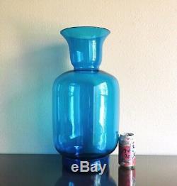 Large Blenko 7048 Floor Vase in Turquoise Blue, Joel Myers 1970 20 MCM Vintage