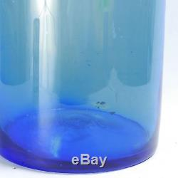 Large Blenko Vase 24 Cobalt blue blown floor vase etched mark Architectural